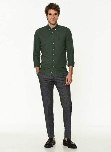 George Hogg Erkek 7003993 Slim Fit Gömlek Yeşil